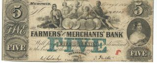 Tennessee Memphis Farmers Bank $5 Note Currency 1854 G645 Blue Five 4333 photo