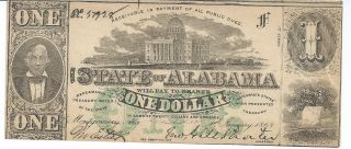 Obsolete Currency Alabama Montgomery $1.  Issued 1863 Cu Note 1st Series 57928 photo