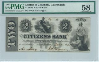 District Of Columbia Washington Citizens Bank $2 1852 Signed/issued Pmg58 819 photo