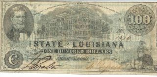 Obsolete Currency Louisiana Shreveport Bank $100 Note 1863 Issued Cr11 F+ 1676 photo