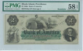 Rhode Island Providence Bank Of America $2 186x Unissued G8a Pmg58epq Obsolete photo