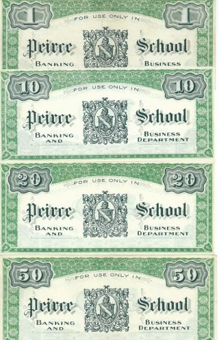 Pennsylvania Philly Peirce School Training $1/10/20/50 Bank Note Currency 18xx photo
