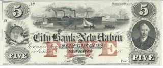 Obsolete Currency Conn.  City Bank Of Haven $5 Unissued 18xx Gem G52b (b) photo