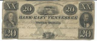 Obsolete Currency Tennessee Knoxville Bank Of East Tennessee $20 1854 Low 113 photo