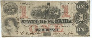 Obsolete Currency Florida Tallahassee $1 Issued 1863 Vf Cr19 Rarity 6 9188 photo