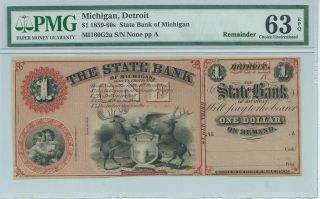 Obsolete Currency Michigan Detroit State Bank $1 Note Color Graded Plate A photo