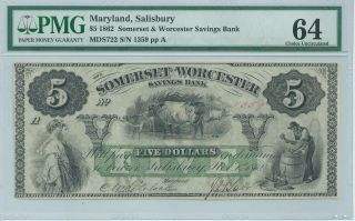 Maryland Salisbury Somerset Worcester Bank Note $5 1862 Pmg64 S722 1359 photo