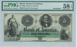 Rhode Island Providence Bank Of America $5 186x Unissued G14a Pmg58epq Obsolete photo