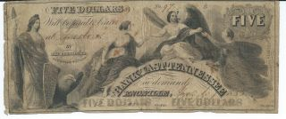 Knoxville Bank Of East Tennessee $5 Bank Note Obsolete Currency 1853 Low 97 photo