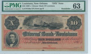 Louisiana Orleans Dixie Citizens $10 Bank Note Currency 186x Note Pmg photo