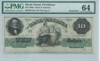 Rhode Island Providence Bank Of America $1 186x Unissued G18a Pmg64 Obsolete photo