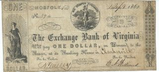 Obsolete Currency Virginia Norfolk Clarksville $1 1862 Signed Issued Fine 394 photo