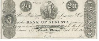 Georgia Augusta Bank Note Currency Dated Not Issued $20 1833 Unc 1082 Obsolete photo