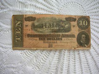 Confederacy States Of America $10 Note February 17 1864 No.  87761 Horses Canon photo