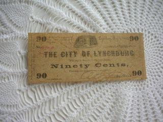 City Of Lynchburg Virginia 90 Cents Tax Note - May 1 1862 Civil War Era No.  4829 photo