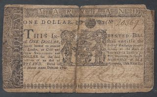 Colonial Currency==maryland==march 1,  1770==$1==vf photo
