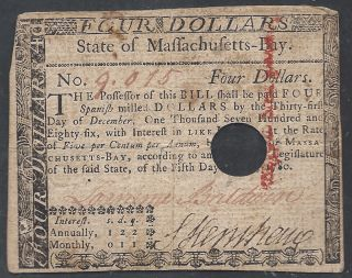 Colonial Currency==new ==massachusetts - Bay==four Dollars==may 5,  1780==au photo