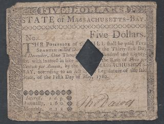 Colonial Currency==massachusetts - Bay==may 5,  1780==$5==vf photo