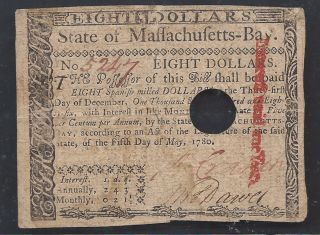 Colonial Currency==new==massachusetts - Bay==eight Dollars==may 5,  1780==au photo
