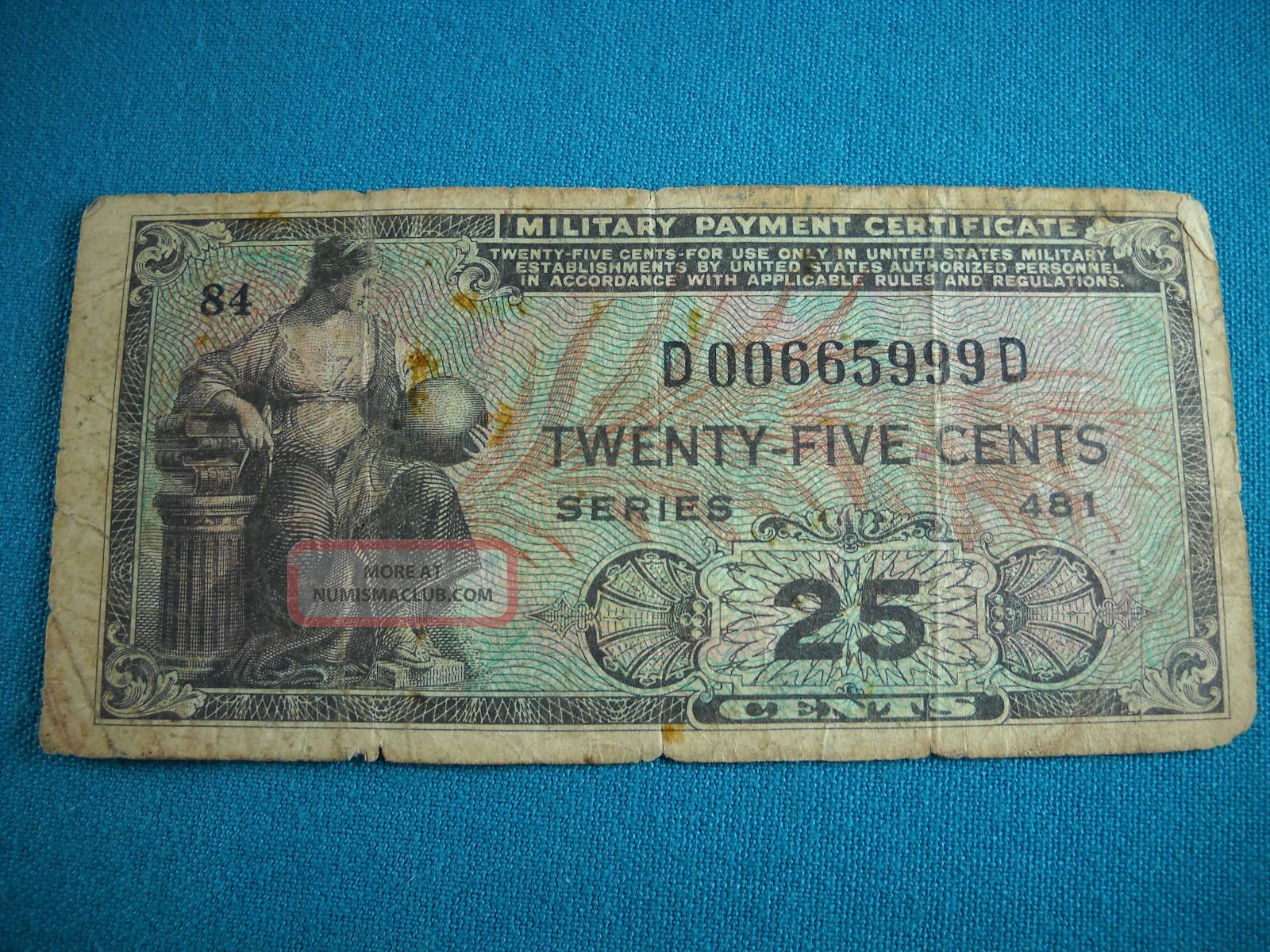Us Military Payment Certificate Series 481 25 Cent Note