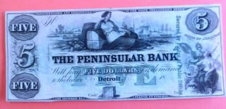 1860 S $5.  00 Michigan Note Of Detroit photo