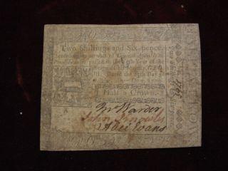 Oct.  25 1775 Pennsylvania 2 Shillingand 6 Pence (half Crown) Plate A V F photo