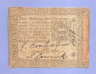 1773 Two Shillings Six Pence Pennsylvania Colonial Currency Collectible photo