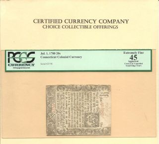 1780 Twenty Shillings Connecticut Colonial Currency Pcgs Extra Fine 45 photo
