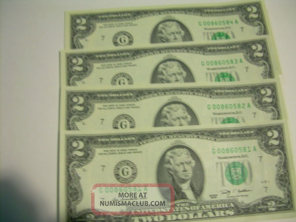 Four (4) Uncirculated Two (2) Dollar Bill - Sequential Serial Numbers