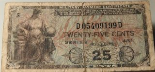 25 Cents Military Payment Certificate photo