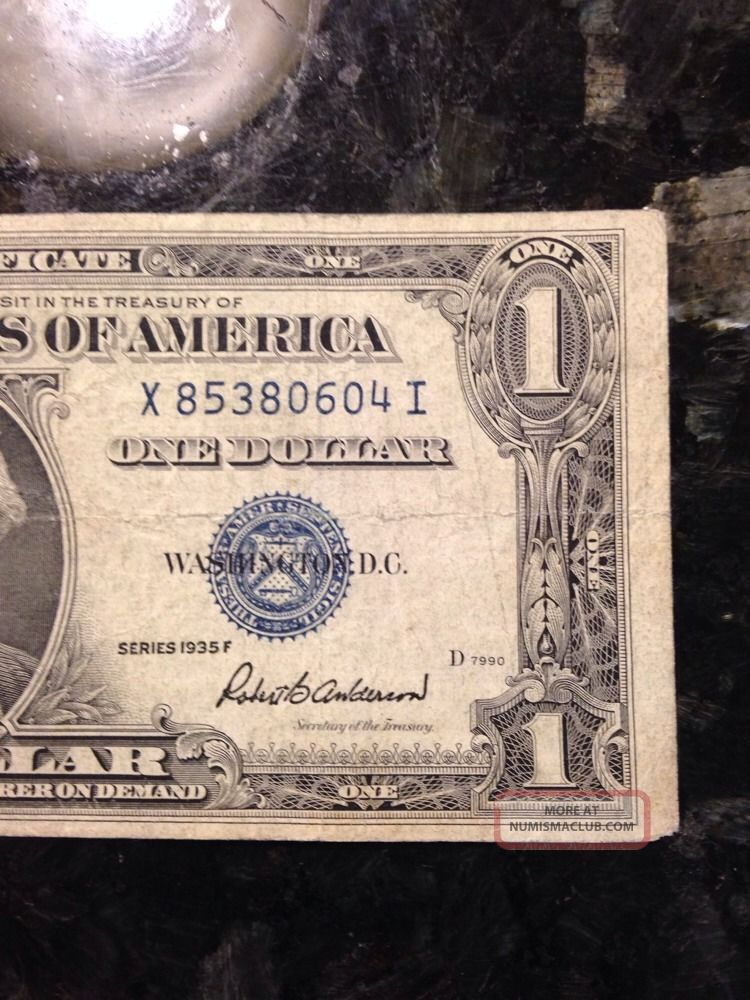 Rare Old 1935 - F U. S. Blue Seal $1 One Dollar Bill Silver ...