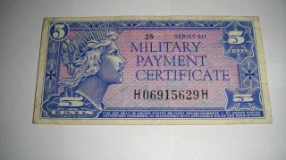 5c Five Cents Military Payment Certificates Mpc Series 611 Rare photo