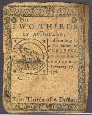 1776 $2/3 Dollar Continental Currency - February 17th photo