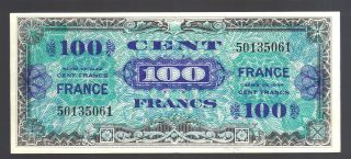 Allied Military Currency 100 Cent Francs France Paper 1944 Amc Note Cobb Ark. photo