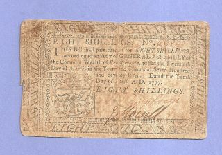 1777 Eight Shilling Pennsylvania Colonial Note Post - Revolution Collectible photo