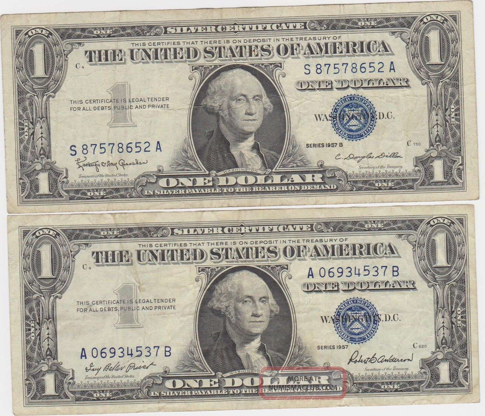 blue seal 1957 and 1957 b silver certificate one 1 dollar
