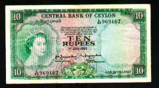 Ceylon 10 Rupees 1953 Pick 55 F - Vf. photo