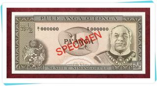 Tonga,  1/2 Pa ' Anga Nd (1974 - 83) Unc P18s Official Specimen W/all Zeroes Ser.  No. photo