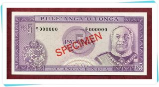 Tonga,  5 Pa ' Anga Nd (1974 - 83) Unc,  P21s Official Specimen W/all Zeroes Ser.  No. photo