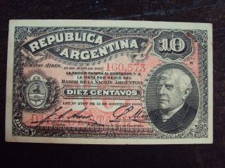 Argentina Banknote Paper Money 10 Centavos 1893 Serie S photo