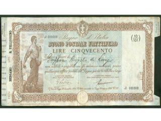 Italy - Buono Postale Fruttifero - 500 Lire - 23 / 12 / 1942 photo
