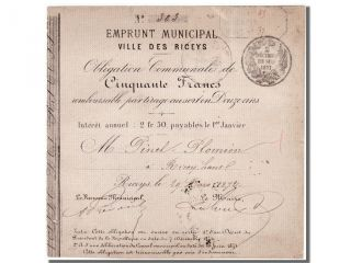 French War Emergency Issues,  Emprunt Municipal,  50 Francs,  Les Riceys photo