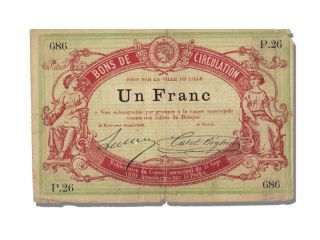 French War Emergency Issues,  Bon De Circulation,  1 Franc,  Lille photo