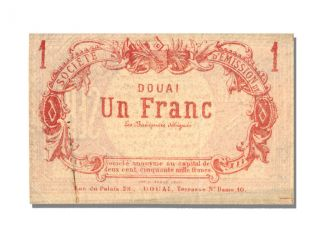 French War Emergency Issues,  Société D ' Emission,  1 Franc,  Douai photo
