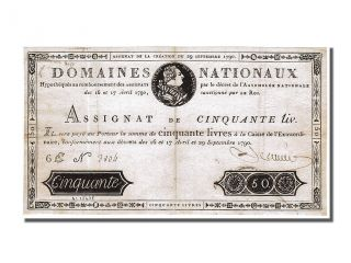 French Assignats,  50 Livres Portrait Assignat Type photo