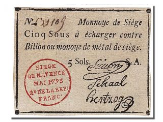 French Assignats,  Siege Of Mainz,  5 Sols Stamp Signatures Type photo