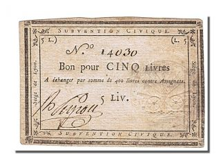 French Assignats,  Siege Of Lyon,  5 Livres Issue Of 28 And 31 August 1793 photo