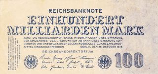 1923 - Germany 100 Million Mark Banknote - Rare Note photo