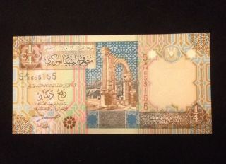 Libya Unc 1/4 Dinar Banknote World Currency Paper Money photo