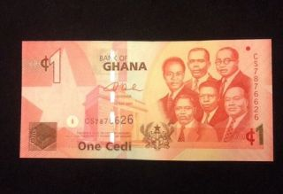 Ghana Unc 1 Cedis 2007 Banknote World Currency Paper Money photo